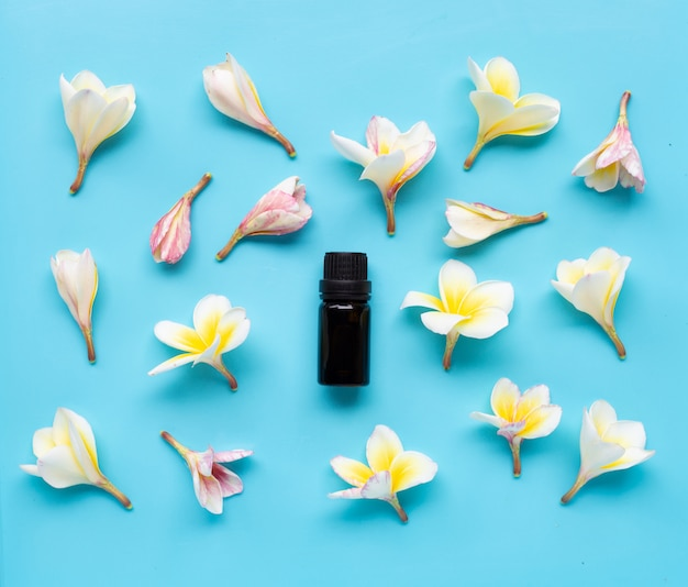 Essential oil with plumeria or frangipani flower