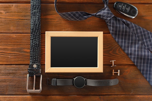 Essentials fashion man objects on wooden surface
