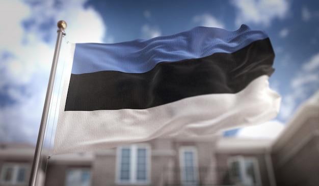 Флаг эстонии 3d-рендеринг на фоне голубого неба