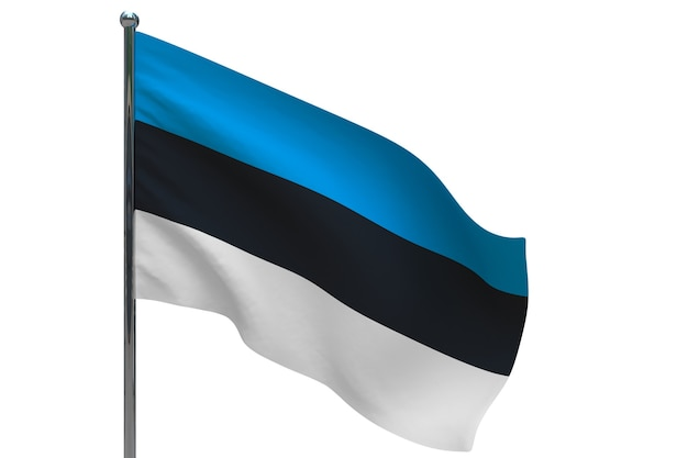 Флаг эстонии на шесте. металлический флагшток. национальный флаг эстонии 3d иллюстрация на белом