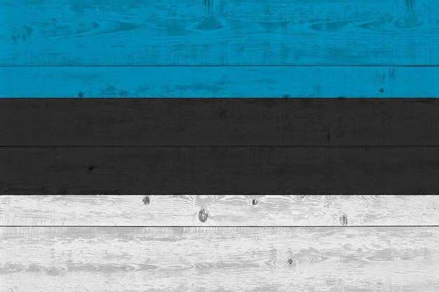 Estonia flag painted on old wood plank
