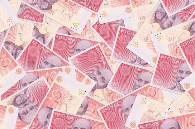 Estonian kroon bills lies in big pile rich life conceptual background big amount of money