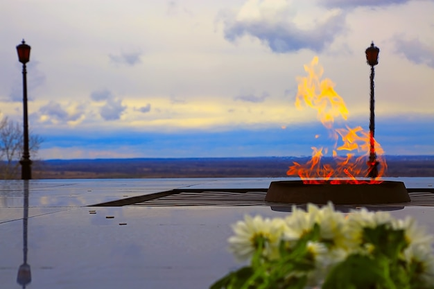 Eternal flame in honor of nizhny novgorod citizens who died during second world war russia