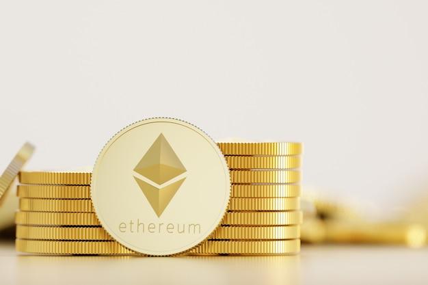 Стек ethereum и bitcoin на фоне золотых монет. 3d визуализация иллюстрации.