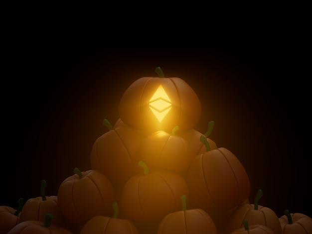 Ethereum 새겨진 호박 스택 더미 암호화 통화 3d 그림 렌더링 어두운 조명