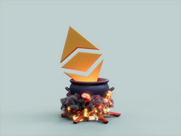 Ethereum 가마솥 화재 요리사 암호화 통화 3d 그림 렌더링