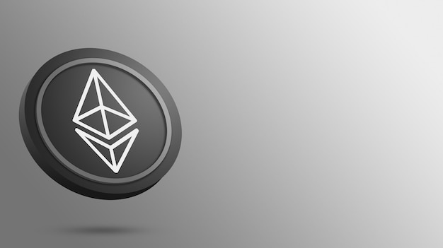 Ethereum coin on a blank background, cryptocurrency 3d render