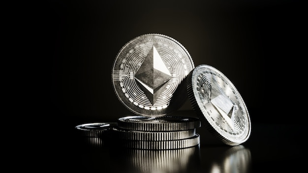 Ethereum coin cryptocurrency digital money.