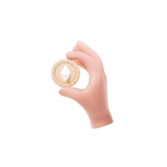 Монета ethereum, держащая значок
