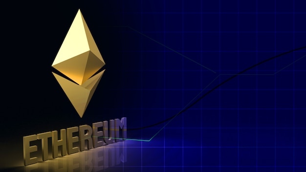 Ethereum  coin  symbol  cryptocurrency 3d rendering