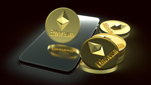 Монеты ethereum и смартфон для 3d-рендеринга бизнес-контента.