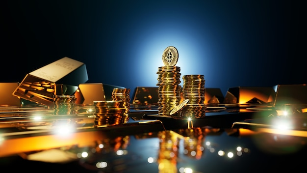 Монеты криптовалюты ethereum в окружении золотых слитков