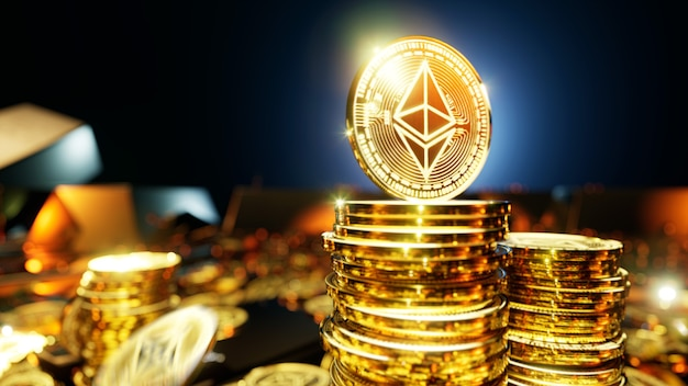 Ethereum cryptocurrency falling coins surrounded by gold bars