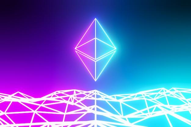Концепция абстрактного фона технологии криптовалюты ethereum. светло-неоновый розовый синий логотип на футуристическом фоне синего цвета. 3d визуализация иллюстрации.