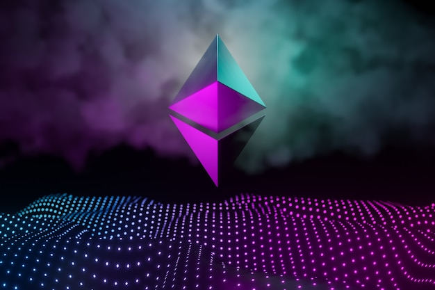Ethereum cryptocurrency technology abstract background concept. metal logo on light dot neon background in pink blue. 3d illustration rendering.
