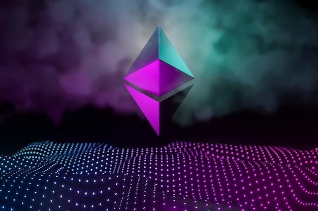 Ethereum cryptocurrency 기술 추상적인 배경 개념입니다. 핑크 블루의 밝은 도트 네온 배경에 금속 로고. 3d 그림 렌더링입니다.