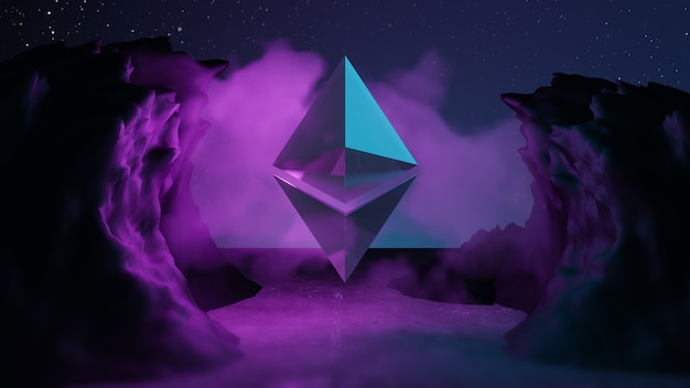 Ethereum cryptocurrency 기술 추상적인 배경 개념입니다. 금속 로고는 파란색의 바닥과 산 배경에 반영됩니다. 3d 그림 렌더링입니다.