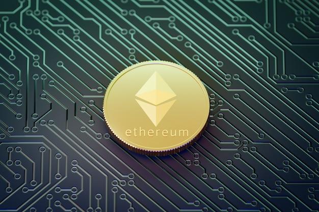 Золотая монета ethereum темного фона печатной платы. 3d визуализация иллюстрации.
