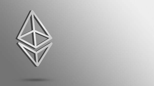 Значок логотипа ethereum на пустом фоне, 3d визуализация криптовалюты