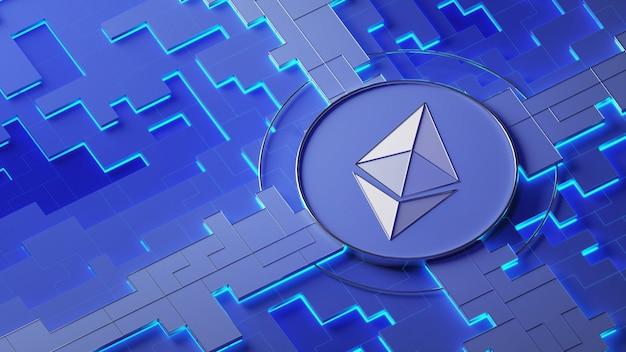 Логотип ethereum на абстрактном фоне. криптовалюта. 3d иллюстрации