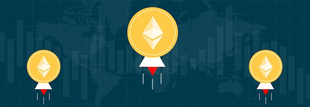 Ethereum on multi-colored metrics and graphs on multi-colored backgrounds and the world map