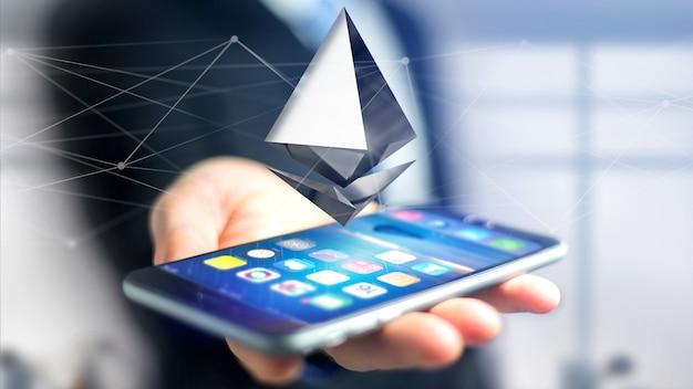 スマートフォンを使用して、ネットワーク接続を飛び回るethereum暗号通貨記号の実業家