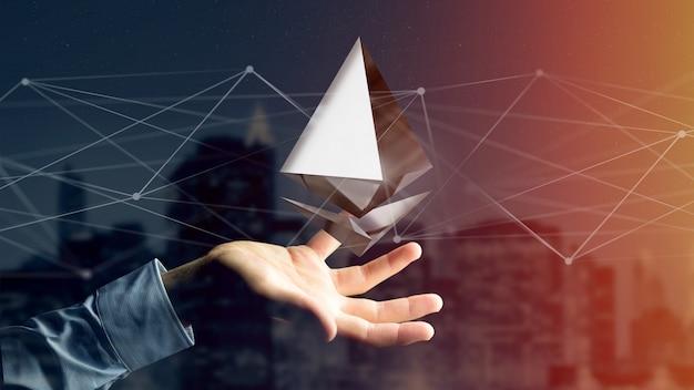 ネットワーク接続を飛び回るethereum暗号通貨記号を保持している実業家