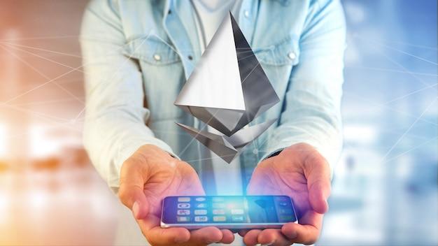 スマートフォンを使って飛ぶethereum暗号通貨記号の実業家