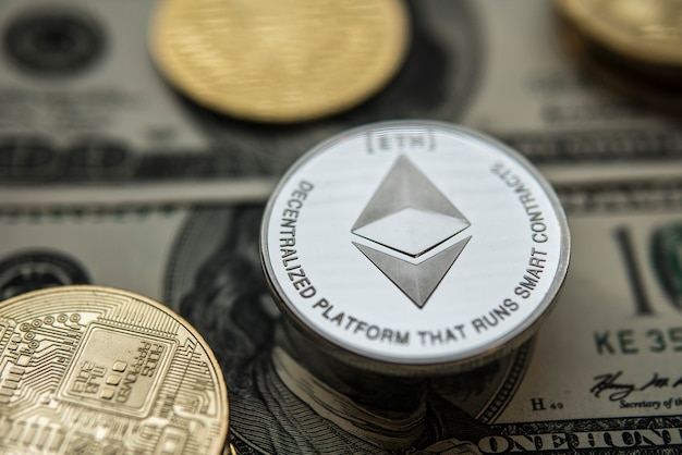 エーテル。暗号通貨エーテル。交換チャート上のethereumコイン。