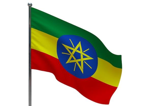 Флаг эфиопии на шесте. металлический флагшток. национальный флаг эфиопии 3d иллюстрация на белом