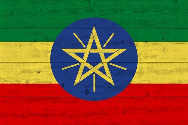 Ethiopia flag painted on old wood plank