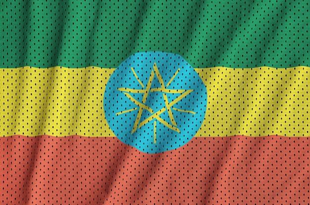 Ethiopia flag printed on a polyester nylon sportswear mesh fabric