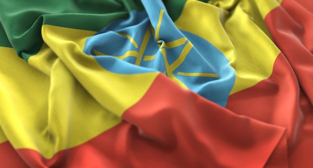 Ethiopia flag ruffled beautifully waving macro close-up shot