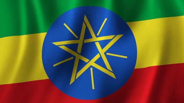 Флаг эфиопии размахивает крупным планом 3d-рендеринг с высококачественным изображением с текстурой ткани
