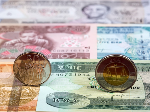 Ethiopian coin on the background of money