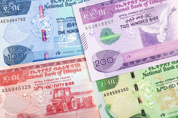 Ethiopian money a business background with new series of banknotes