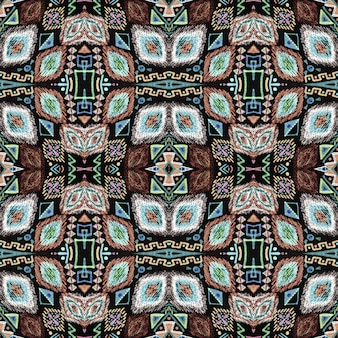 エスニック刺繡。シームレスなアステカ柄。