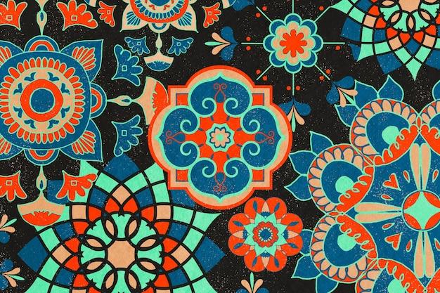 민족 꽃 패턴 배경 그림