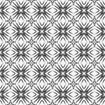 エスニック手描きパターン。黒と白の素晴らしい自由奔放に生きるシックな夏のデザイン。水彩の夏のエスニックボーダーパターン。テキスタイル対応の価値のあるプリント、水着生地、壁紙、ラッピング。