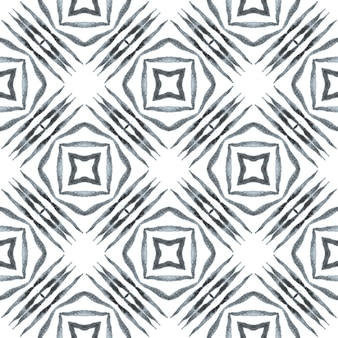 Ethnic hand painted pattern. black and white marvelous boho chic summer design. textile ready unique print, swimwear fabric, wallpaper, wrapping. watercolor summer ethnic border pattern.
