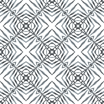 Ethnic hand painted pattern. black and white surprising boho chic summer design. textile ready lovely print, swimwear fabric, wallpaper, wrapping. watercolor summer ethnic border pattern.