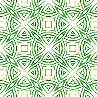 エスニック手描きパターン。緑の驚くべき自由奔放に生きるシックな夏のデザイン。水彩の夏のエスニックボーダーパターン。テキスタイル対応のパワフルなプリント、水着生地、壁紙、ラッピング。