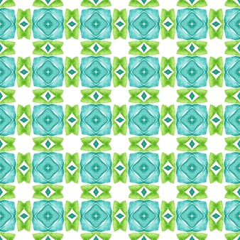 Ethnic hand painted pattern. green symmetrical boho chic summer design. textile ready magnificent print, swimwear fabric, wallpaper, wrapping. watercolor summer ethnic border pattern.
