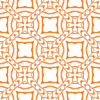 Ethnic hand painted pattern. orange comely boho chic summer design. textile ready indelible print, swimwear fabric, wallpaper, wrapping. watercolor summer ethnic border pattern.