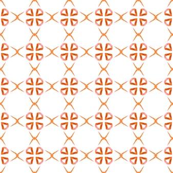 エスニックな手描きのパターン。オレンジ色の幻想的な自由奔放に生きるシックな夏のデザイン。水彩の夏のエスニックボーダーパターン。テキスタイル対応の優雅なプリント、水着生地、壁紙、ラッピング。