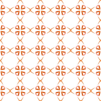 Ethnic hand painted pattern. orange fantastic boho chic summer design. watercolor summer ethnic border pattern. textile ready graceful print, swimwear fabric, wallpaper, wrapping.