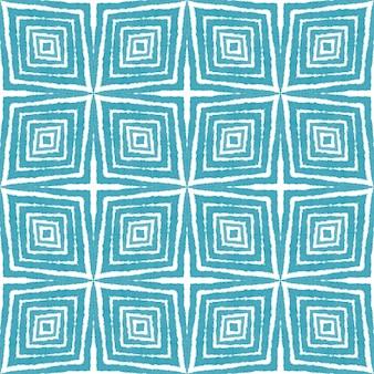 エスニックな手描きのパターン。ターコイズ対称の万華鏡の背景。サマードレスエスニック手描きタイル。テキスタイル対応の繊細なプリント、水着生地、壁紙、ラッピング。