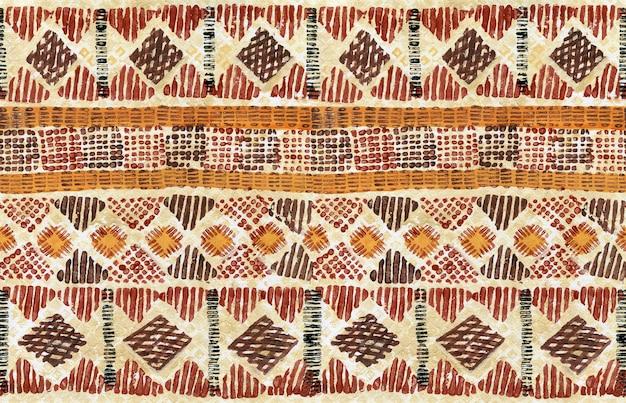 기하학적 모양 줄무늬와 그런 지 수채화 배경에 민족 원활한 가로 패턴