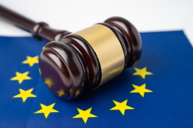 Eu flag country with gavel for judge lawyer.