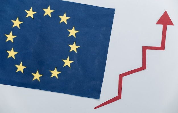 Eu flag with a red growth arrow. arrow graph going up. the economic growth